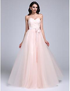 Linia -A In Formă de Inimă Lungime Podea Dantelă Tulle Bal Seară Formală Rochie cu Dantelă de TS Couture®
