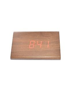 ieftine Ceasuri Din Lemn De Perete-raylinedo® cele mai recente roșu de design de moda din lemn maro condus lemn alarmă ceas digital de afișare a datei de temperatură -time