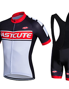 cheap Cycling Jersey & Shorts / Pants Sets-Fastcute Men's Short Sleeves Cycling Jersey with Bib Shorts - White Bike Shorts Bib Shorts Bib Tights Jersey Jacket Clothing Suits, 3D