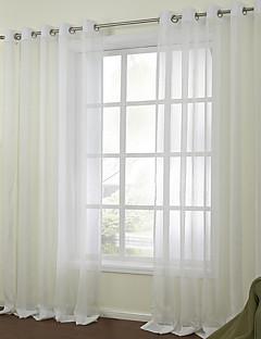 baratos Cortinas Personalizadas-Barra no Interior Anéis Presilhas Duplo Plissado Dois Painéis Tratamento janela Modern, Jacquard Sólido Quarto Mistura de Linho e