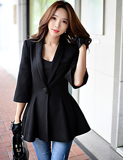 DABUWAWA Women's Casual/Daily / Work Vintage / Sophisticated CoatSolid Notch Lapel  Sleeve