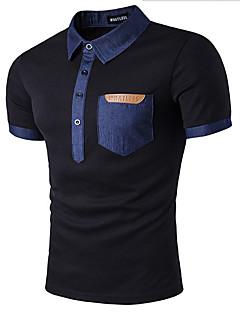 olcso -Casual/hétköznapi Egyszerű Kerek Póló,Egyszínű Rövid ujjú Fehér Fekete Pamut