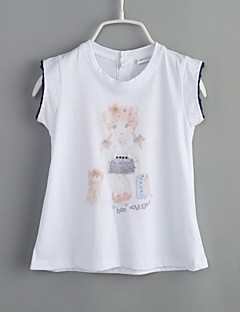 Girls' Daily Print Tee,Cotton Summer Short Sleeve White