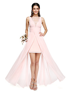 cheap Romance Blush-A-Line Bateau Neck Asymmetrical Chiffon Bridesmaid Dress with Lace Inset Pleats by LAN TING BRIDE®