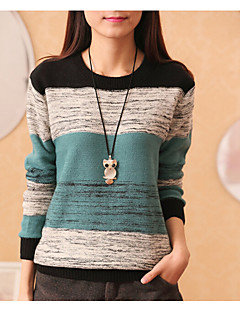 Women's Casual/Daily Simple Regular Pullover,Solid Round Neck Long Sleeves Cotton Spring Fall Medium Micro-elastic