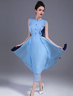 A 라인 드레스 캐쥬얼/데일리 심플 솔리드,라운드 넥 미디 민소매 폴리에스테르 봄 여름 중간 밑위 신축성 없음 얇음