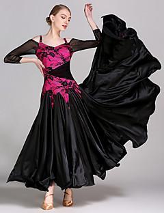 Dança de Salão Vestidos Mulheres Apresentação Treino Renda Tule Viscose Renda Manga Comprida Natural Vestido