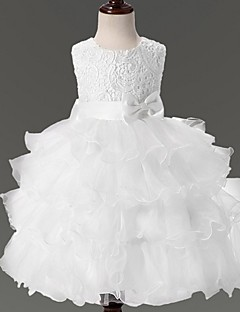 cheap Communion Dresses-Ball Gown Knee Length Flower Girl Dress - Organza Sleeveless Jewel Neck with Bow(s) Lace by YDN