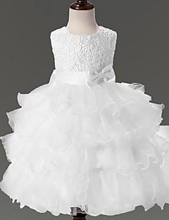 Vestido de baile vestido de flor com joelho - organza colar de jóias sem manga por ydn