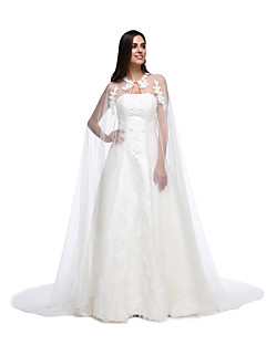 cheap Wedding Wraps-Lace Tulle Wedding Party Evening Women's Wrap With Lace Button Capes