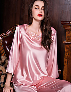 cheap Pajamas-Women's Square Neck Suits Satin & Silk Pajamas Solid Colored