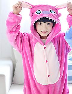billige Kigurumi-Barne Kigurumi-pysjamas Anime / Blå Monster Onesie-pysjamas Kostume Korallfleece Rose / Blå Cosplay Til Pysjamas med dyremotiv Tegnefilm Halloween Festival / høytid / Jul