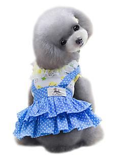 billiga Hundkläder-Hund Klänningar Hundkläder Prickig Gul / Blå Cotton Kostym För husdjur Sommar Dam Mode