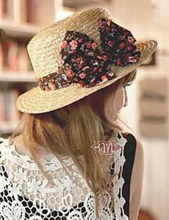 billige Trendy hatter-Dame Fritid Bøttehatt Stråhatt Solhatt,Sommer Ensfarget Strå Blå Svart Rosa
