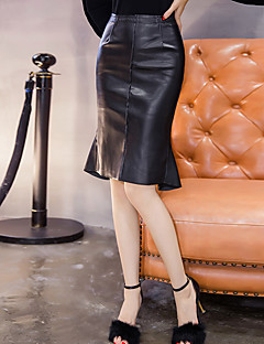 Sign Spring waist PU leather skirt female skirt package hip step skirt sexy flash Slim thin fishtail skirt
