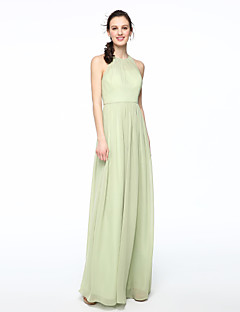 cheap Green Glam-Sheath / Column Jewel Neck Floor Length Chiffon Bridesmaid Dress with Pleats by LAN TING BRIDE®