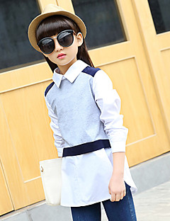 Girl's Fashion Going out Casual/Daily Holiday Spring/Fall Cotton Long Sleeve Lapel False Patchwork Blouse Children Color Block Shirt