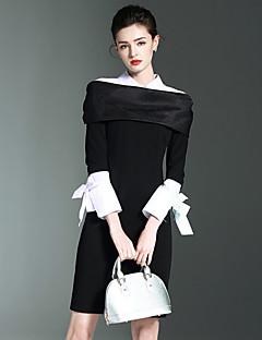 preiswerte BURDULLY-Damen Bodycon Kleid-Arbeit Einfach Solide Hemdkragen Übers Knie Langarm Polyester Nylon Elasthan Frühling Sommer Mittlere Hüfthöhe