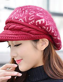 女性の冬のラブレタ印刷ウサギの毛のパターン野球暖かいベレー帽
