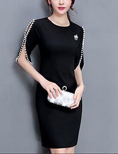お買い得  レディースドレス-女性用 プラスサイズ お出かけ コットン シース ドレス - ビーズ, ソリッド 膝上 レッド