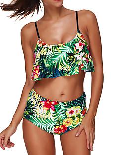 billige Bikinier og damemote 2017-Dame Blomster Grime Bikini Blomstret / Høy Midje