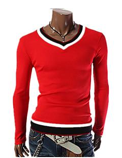 男性 お出かけ カジュアル/普段着 ワーク オールシーズン Tシャツ,シンプル ストリートファッション パンク & ゴシック Vネック カラーブロック レッド ホワイト ブラック コットン スパンデックス 長袖