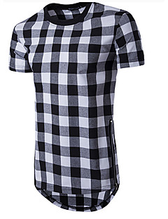 Men's Sports Casual/Daily Simple T-shirt,Solid Plaid Round Neck Short Sleeves Cotton