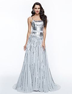cheap Celebrity Dresses-A-Line Spaghetti Straps Sweep / Brush Train Sequined Prom / Formal Evening Dress with Sequin Sash / Ribbon Pleats by TS Couture®