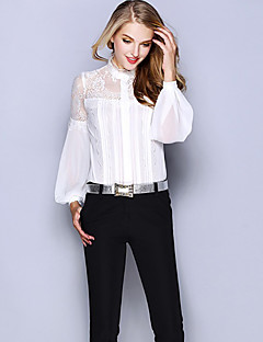 Women's Daily Work Sophisticated Shirt,Solid Round Neck Long Sleeves Silk