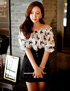 DABUWAWA Women Straight Slim RompersGoing out Casual/Daily Holiday Vintage Cute Street chic Print Color Block Ruffle Pleated Off Shoulder Length
