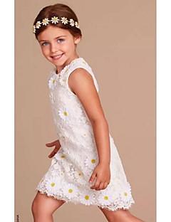 ieftine -teacă / coloană genunchi lungime floare fată rochie - organza fără buzunar gât bijuterie cu aplicație de mii