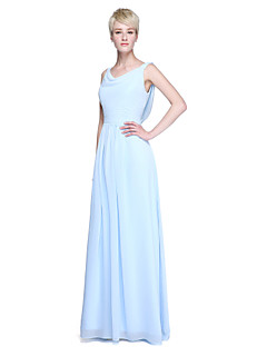 cheap Long Bridesmaid Dresses-Sheath / Column Cowl Neck Floor Length Chiffon Bridesmaid Dress with Ruched by LAN TING BRIDE®