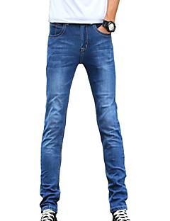 billige Herrebukser og -shorts-Herre Fritid Mikroelastisk Tynn Jeans Bukser, Mellomhøyt liv Bomull Polyester Ensfarget Alle årstider