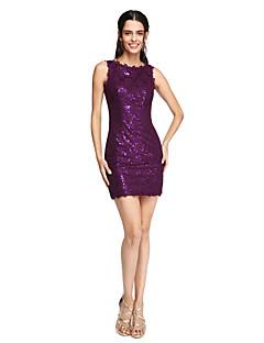 cheap Short Bridesmaid Dresses-Sheath / Column Jewel Neck Short / Mini Lace Bridesmaid Dress with Sequin by LAN TING BRIDE®