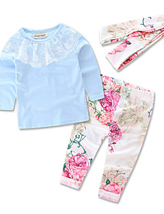 Girls' Party Going out Casual/Daily Solid Floral Print Sets,Cotton Polyester Spring Fall All Seasons Long Sleeve Clothing Set Floral Lace