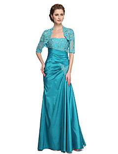 cheap Mother of the Bride Dresses-Mermaid / Trumpet Strapless Floor Length Lace Taffeta Mother of the Bride Dress with Beading Appliques Pleats by LAN TING BRIDE®