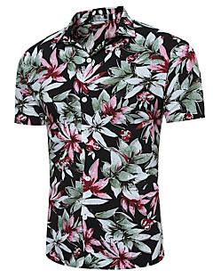 billige Herremote og klær-Polyester Kortermet,Klassisk krage Skjorte Rutet Chinoiserie Daglig Herre