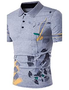 דפוס צווארון חולצה פשוטה פעיל פורמאלי ליציאה Polo גברים,קיץ שרוולים קצרים בינוני (מדיום) כותנה