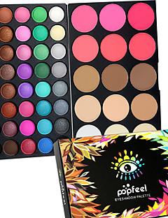 40 Color Eyeshadow + 15 Color Face Blush&Concealer Contour Concealer/kontur Rouge Highligthers og bronzers+Øjenskygger Tør Våd Mat Glans