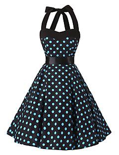 Kadın Günlük/Sade Vintage Çan Elbise Yuvarlak Noktalı,Kolsuz Boyundan Bağlamalı Diz-boyu Pamuklu Tüm Mevsimler Normal Bel Esnemez Orta