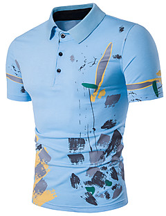 Men's Daily Going out Casual Sexy Street chic Summer Polo,Print Shirt Collar Short Sleeves Cotton Polyester