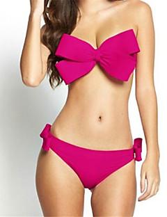 billige Bikinier og damemote 2017-Dame Ensfarget Bikini Badetøy Solid Stropper Oransje Rød Rosa Gul Fuksia
