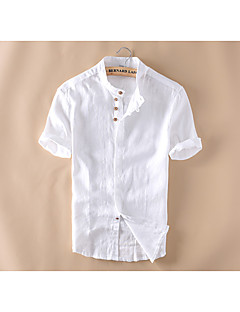 Men's Casual/Daily Simple Summer Shirt,Solid Stand Short Sleeves Linen Medium