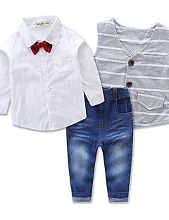 Boys' Party Daily Formal Solid Striped Clothing Set,Cotton Spring Fall All Seasons Long Sleeve Stripes Dresswear Gray