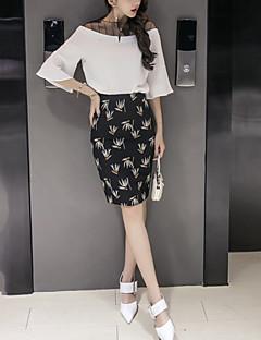 お買い得  レディースツーピースセット-女性用 ワーク ベーシック フレアスリーブ ブラウス - プリント ハイライズ スカート