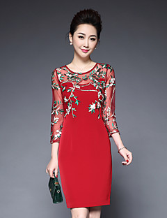 hesapli YBKCP-Kadın Dışarı Çıkma Sade Kılıf Elbise Solid,¾ Kol Uzunluğu Yuvarlak Yaka Diz üstü Polyester Bahar Yaz Normal Bel Esnemez Orta