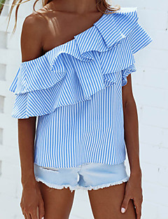 Women's Daily Going out Cute Street chic Summer Shirt,Striped Boat Neck Sleeveless Nylon