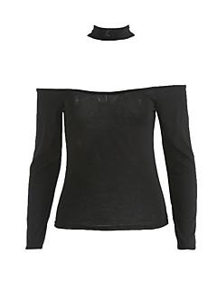 billige Insidervalg-Bateau-hals Dame - Ensfarvet Bomuld T-shirt / Efterår / Choker