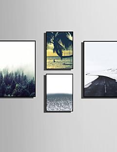 olcso Feszített festmények: Tájképek-Bekeretezett vászon Bekeretezett szett Landscape Virágos / Botanikus Mondások & Idézetek Wall Art, PVC Anyag a Frame lakberendezési frame