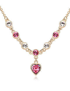 Kadın's Uçlu Kolyeler Kristal Kişiselleştirilmiş Aşk Kalp Moda Euramerican Mücevher Uyumluluk Düğün Parti Doğumgünü